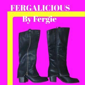 Fergalicious black moto zip up suede feel boots